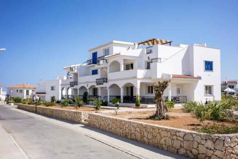 Et hvitkalket hus med blåe vinduslemmer, med en støttemur i front med lokale kypriotiske kalkstener. Fylt opp med rød kypriotiske jord, diverse plante og oliven stammer.